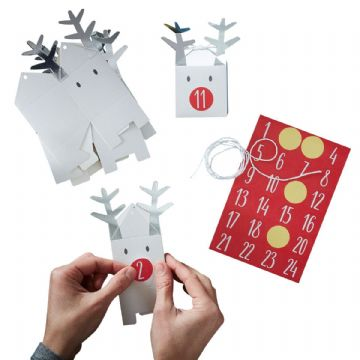 24 Silver Christmas Reindeer Advent Calendar Boxes